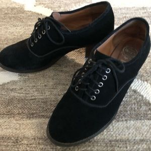 Jeffrey Cambell Black Lace Up Loafer Brogues Heel